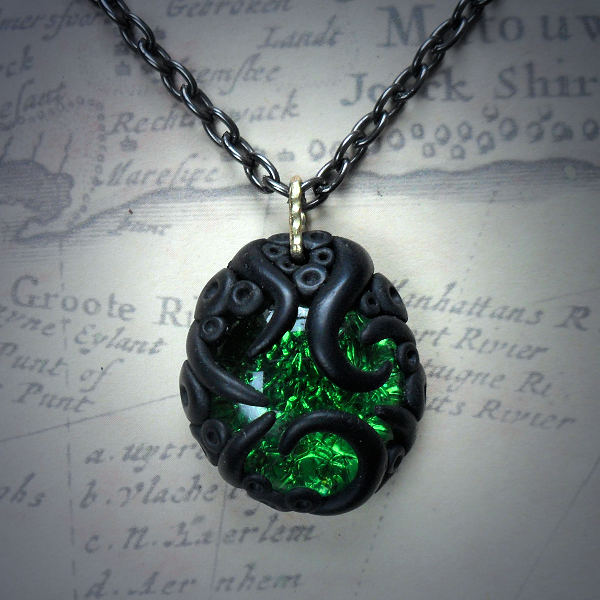 Tentacled Emerald Green Glass…