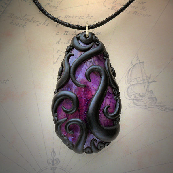 Tentacled Purple Agate Necklace 1