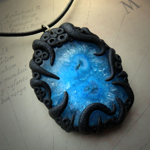 Tentacled Blue Solar Quartz Necklace