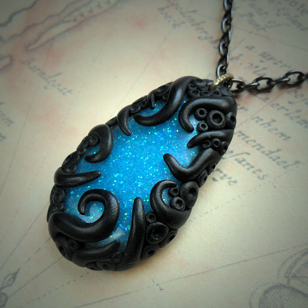 Tentacled Sparkling Blue Necklace