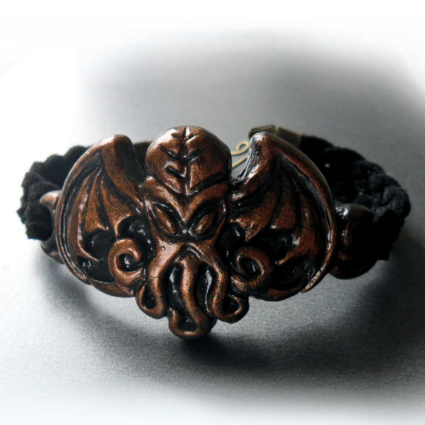 Cthulhu Leather Weave Bracelet