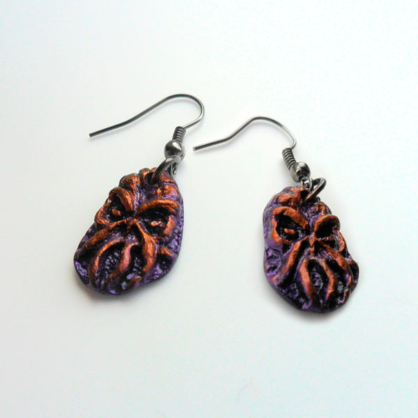 Cthulhu Earrings (purple copper)