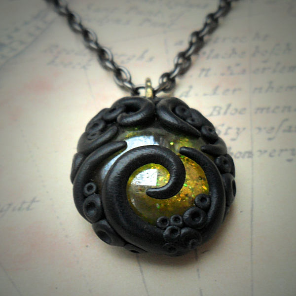 Tentacled Golden Glass Necklace