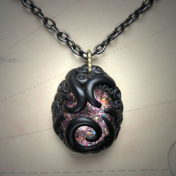 Tentacled Pink Glass Necklace
