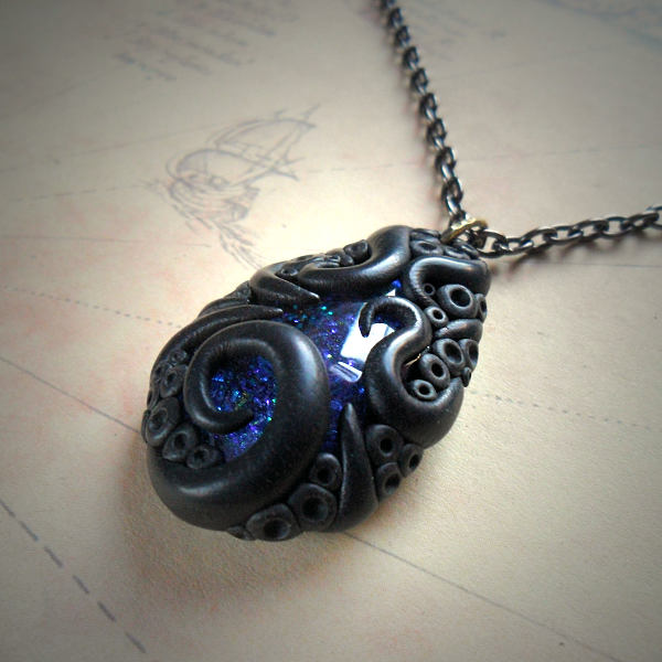 Tentacled Sapphire Glass Necklace