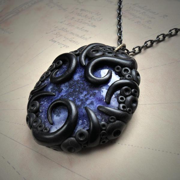 Tentacled Blue Solar Quartz Necklace
