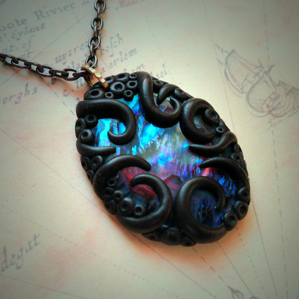 Tentacled Blue Abalone Necklace