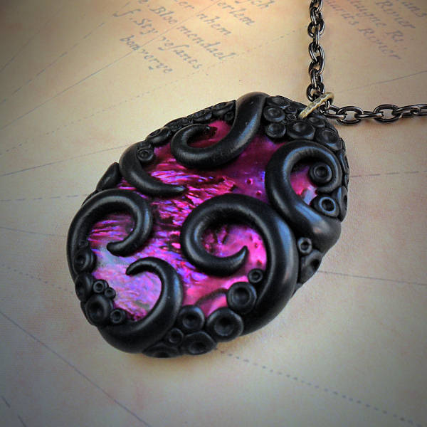 Tentacled Pink Abalone Necklace