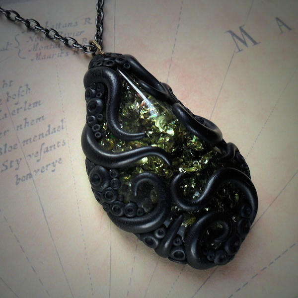 Tentacled Green Faux Amber Necklace