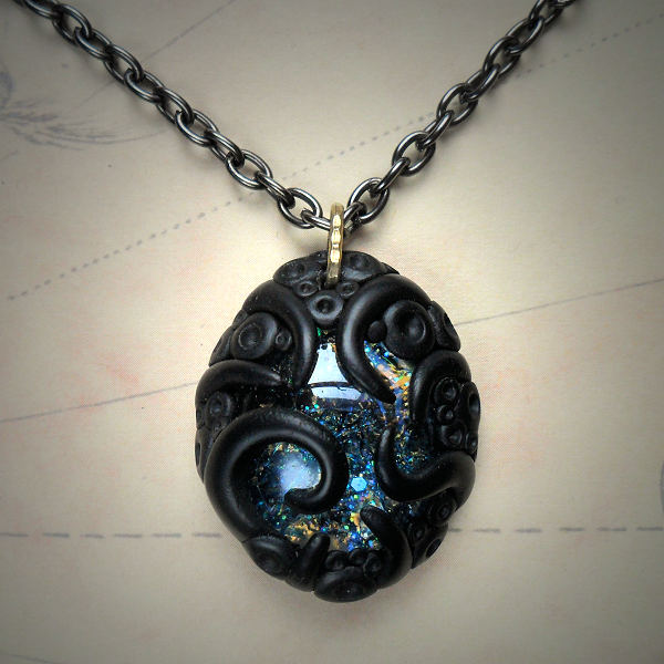 Tentacled Blue Glass Necklace