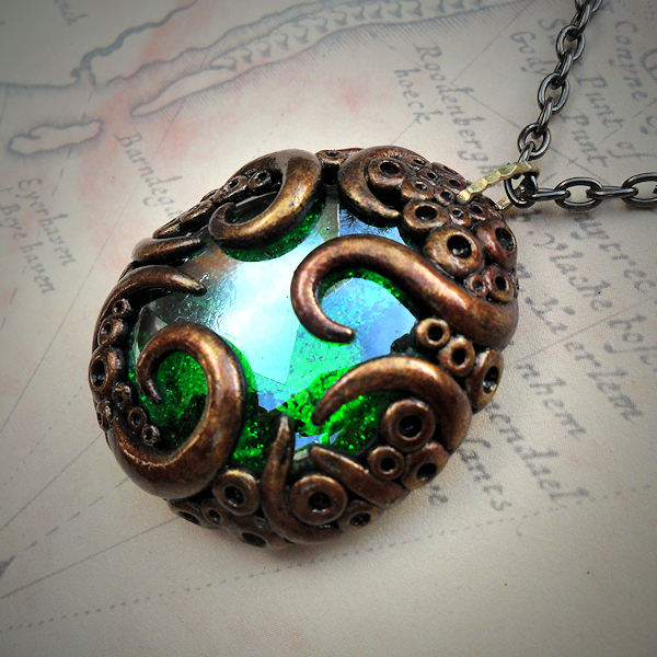 Tentacled Bronze Emerald Green Glass Necklace