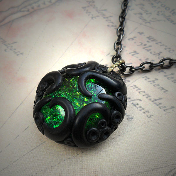 Tentacled Emerald Glass Necklace #2