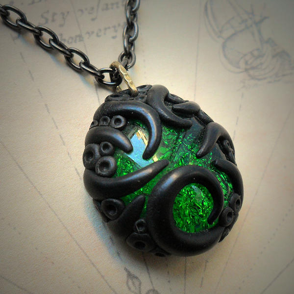 Tentacled Emerald Glass Necklace #3