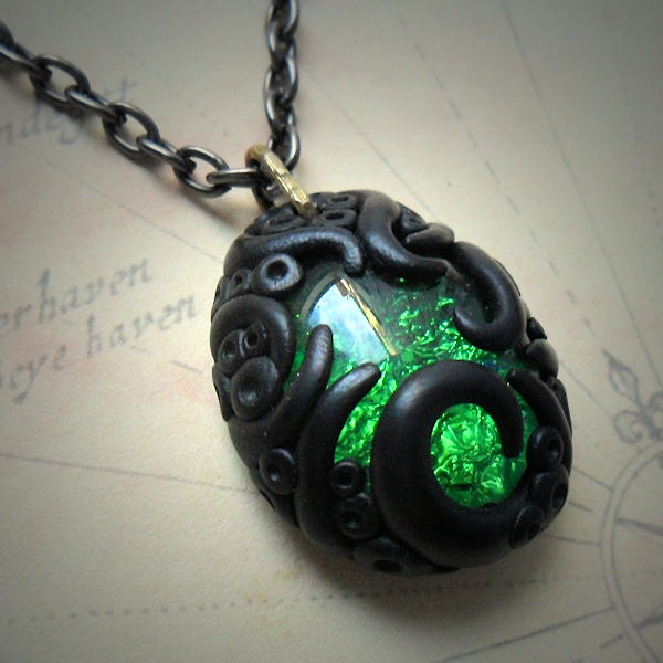 Tentacled Emerald Glass Necklace #4