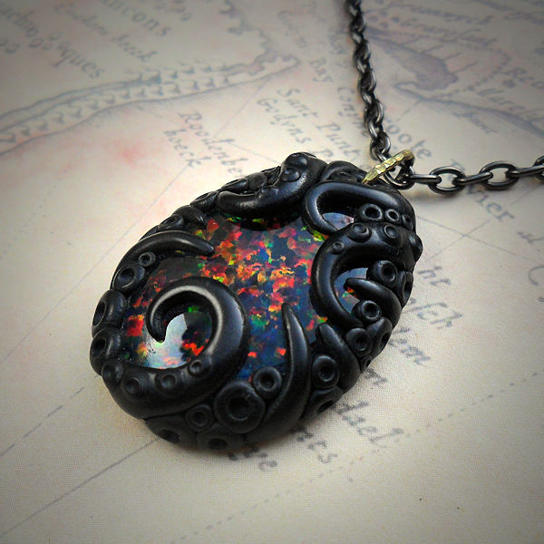 Tentacled Faux Black Opal Necklace