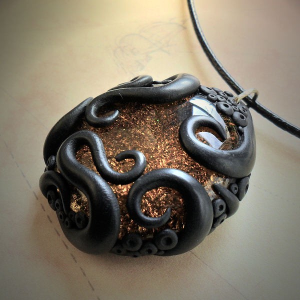Tentacled Amber Glass Necklace