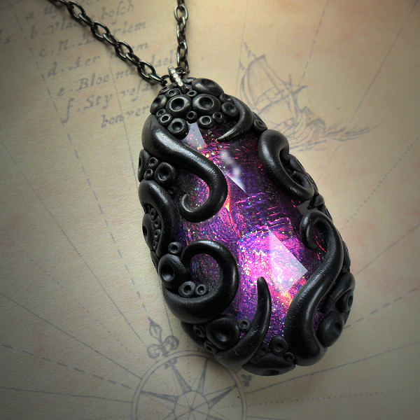 Tentacled Purple Glass Necklace