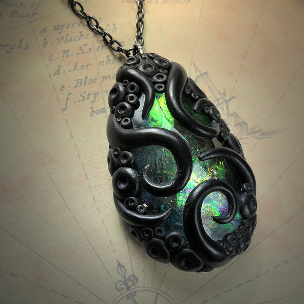 Tentacled Green Glass Necklace