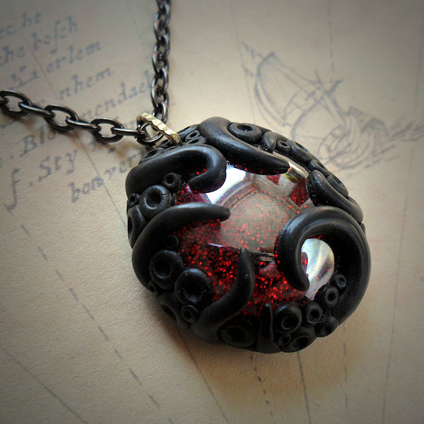 Tentacled Iridescent Glass Necklace (red)