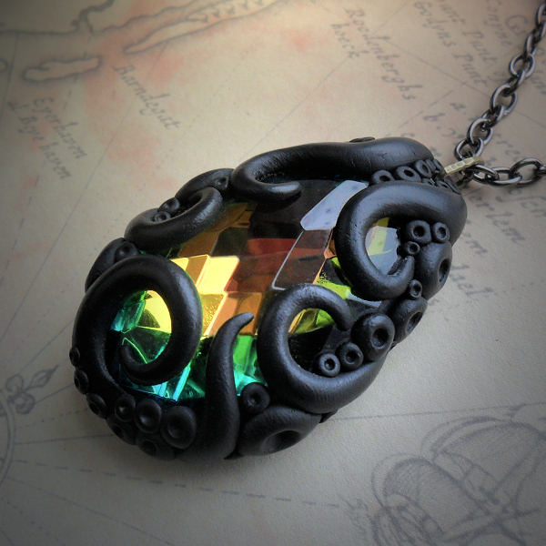 Tentacled Multi Coloured Glass Necklace