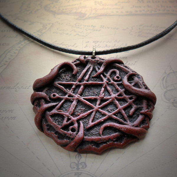 Tentacled Necronomicon Gate Necklace (red)