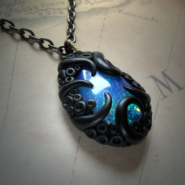 Tentacled Opalite Necklace (blue green)
