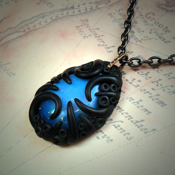 Tentacled Opalite Glass Necklace