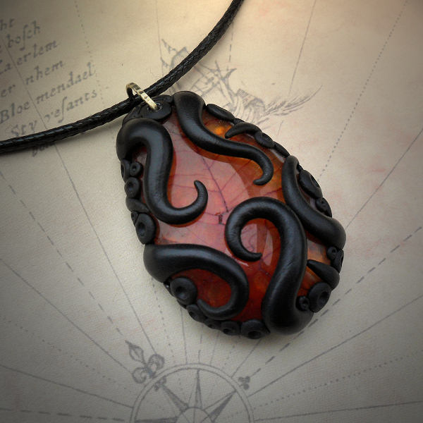 Tentacled Orange Agate Necklace
