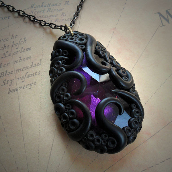 Tentacled Deep Purple Glass Necklace