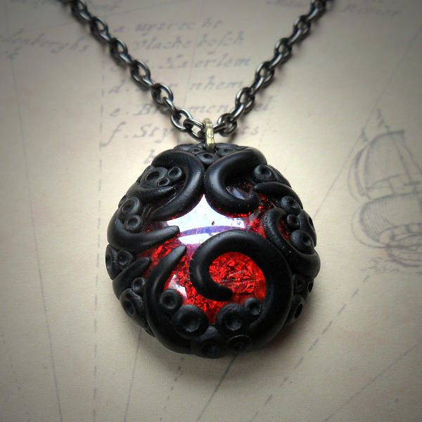 Tentacled Ruby Glass Necklace